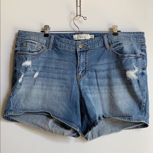 Torrid distressed denim shorts.  Worn once.